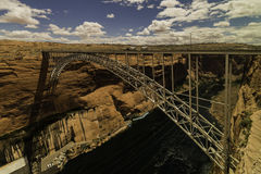 Glen Canyon Bridge across river. Glen Canyon Bridge across Colorado river Stock Photography