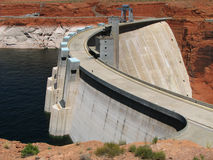 Glen Canyon Dam. And Lake Powell showing low water levels and bathtub ring from drought on the Colorado River Royalty Free Stock Image
