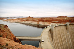 Glen Canyon Dam, Arizona. Glen Canyon Dam, located in a national recreation area  on the Colorado River, and Colorado Plateau, creating Lake Powell near  Page Royalty Free Stock Images