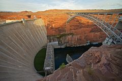 Glen Canyon Dam and Bridge. In Page, Arizona, United States.  Arch Dam on the Colorado River Royalty Free Stock Photography