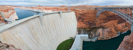Glen Canyon Dam and bridge panorama Stock Photo