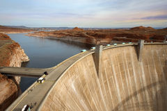 Glen Canyon Dam, Colorado River, Arizona, United States. Glen Canyon Dam, concrete arch dam on the Colorado River in northern Arizona in the United States, near Stock Photography