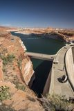 Glen Canyon Dam dam and Lake Powell from the Carl Hayden Visitor Centre Page Arizona. Glen Canyon Dam is a concrete arch-gravity dam on the Colorado River in stock photos