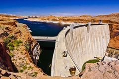 The Glen Canyon Dam on Lake Powell and the Colorado River stock photography