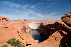 Glen Canyon Dam och makt som frambringar stationen Fotografering för Bildbyråer