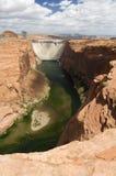 Glen Canyon Dam, Page, Arizona. The Colorado River flows out of the Glen Canyon Dam, Page, Arizona stock photo