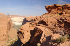 Glen Canyon Dam And Rocks Royalty Free Stock Image