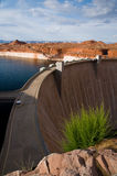 Glen Canyon Dam at sunset. A picturesque view of the curving wall of the Glen Canyon Dam on the Colorado river in Arizona, USA Stock Photos