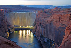 Glen Canyon Dam Twilight Stock Photography