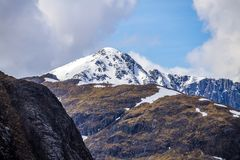 Climbing, walking and skiiing in Glen Coe in the Highlands of Scotland. Glen Coe is one of the most famous and greatest mountain areas of Britain. There are royalty free stock photography