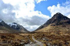 Glen Coe. Path to Glen Etive from Glen Coe, Scotland Royalty Free Stock Photos
