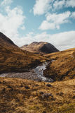 Glen Etive valley on sunny day in Scotland. Scottish Highlands. Stock Image