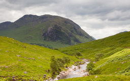 Glen Etive. The view looking down Glen Etive in the Scottish highlands Royalty Free Stock Images