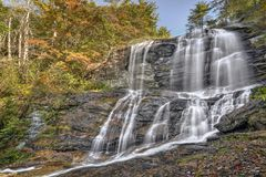 Glen Falls. Is a scenic series of major waterfalls that totals about 600 feet. It`s close to Highlands North Carolina. This is the upper section of the falls Stock Photography