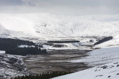 Glen Gairn in the highlands of Scotland. Gairn Pass in winter in the Cairngorms National Park of Scotland Stock Image