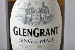 Glen Grant Speyside Single Malt Scotch Whisky bottle closeup Royalty Free Stock Images