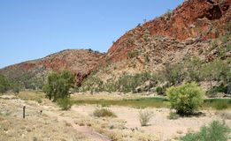 Glen Helen Gorge. In the dry season after very little water for months stock photos