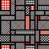 Glen Plaid pattern. Seamless vector pattern. Patchwork of Classic Glen Plaid patterns. Vector image Stock Image