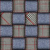 Glen Plaid pattern. Seamless vector pattern. Patchwork of Classic Glen Plaid patterns and jeans texture. Vector image Stock Photography