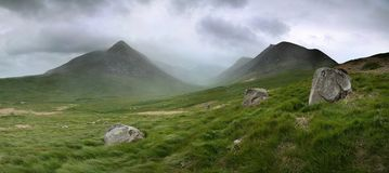Glen sannox. In Arran in dramatic cloud and rain stock images