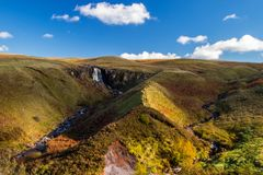 Glenariff is a valley of County Antrim, Northern Ireland. This glacially carved glen has a mouth on the North Channel of the Irish Sea at the town of Waterfoot royalty free stock photos