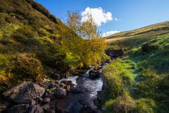 Glenariff is a valley of County Antrim, Northern Ireland. This glacially carved glen has a mouth on the North Channel of the Irish Sea at the town of Waterfoot royalty free stock images