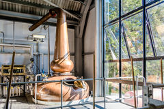 Glenbeg, Ardnamurchan Scotland - May 26 2017 : Ardnamurchan distillery is producing whisky since 2014 and actually. Expanding their warehouses in Glenbeg stock photography