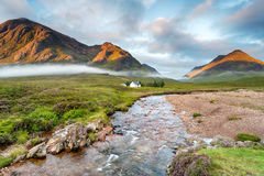 Glencoe的河Coe在苏格兰 免版税库存照片
