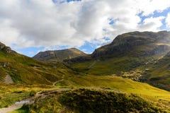 Glencoe看法从路A82在高地,秋天季节的苏格兰的 免版税图库摄影