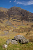 Glencoe苏格兰英国惊人的山和幽谷在苏格兰高地 免版税库存照片