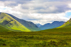 Glencoe,高地地区,苏格兰Glencoe或幽谷Coe山全景,苏格兰人Higlands,苏格兰,英国 免版税库存图片