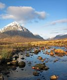 Glencoe. Snow capped moutain at the entrance of Glencoe, Highlands, Scotland Stock Photo
