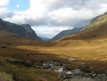 Glencoe in Autumn. The beautiful rough landscape of Glencoe of Scotland in Autumn Stock Photography