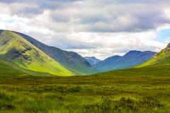 Glencoe, Highland Region, Scotland Glencoe or Glen Coe mountains panoramic view  ,Scottish Higlands,Scotland, UK. Royalty Free Stock Image