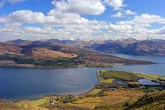 Glencoe och fjord Linnhe, Skottland Arkivfoto
