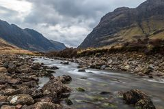 Glencoe river with smooth water flow. And cloudy day. hill views at the back, Rural Scene stock images