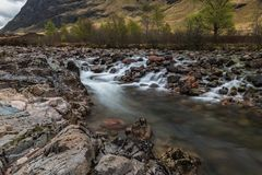 Glencoe waterflow river stock photography