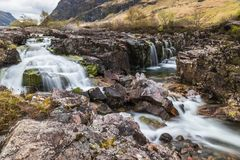 Glencoe river with smooth water flow. And cloudy day. hill views at the back. rural scene with silky smooth water flow at long exposure royalty free stock photography