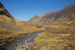 Glencoe Scotland UK famous tourist destination with river Scottish glen and mountains in Lochaber Scottish Highlands in spring Royalty Free Stock Photos