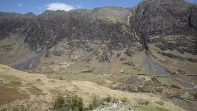 Glencoe Scotland UK stunning beautiful Scottish glen and mountains famous tourist destination pan view stock video footage