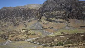 Glencoe Valley Scotland UK beiautiful summer weather and mountains in Scottish Highlands stock footage