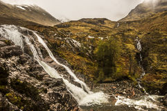 Glencoe waterfall. On a dark cloud day, Highland, Scotland Stock Photography