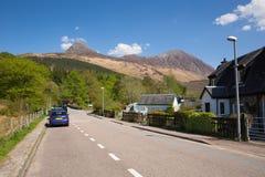 Glencoe wioska w roztoki Coe Lochaber Szkockich średniogórzach Szkocja UK Obraz Stock