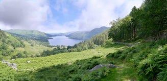 In Glencoyne valley, Lake District. Panoramic in Glencoyne with Ullswater ahead stock photography
