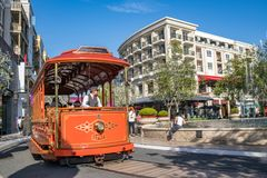 Trolley car at the Americana at Brand. Glendale, CA: May 8, 2018: Trolley car at The Americana at Brand, a luxurious retail and entertainment-based shopping Royalty Free Stock Photo