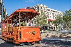 Trolley car at the Americana at Brand. Glendale, CA: May 8, 2018: Trolley car at The Americana at Brand, a luxurious retail and entertainment-based shopping Stock Images
