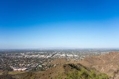 Glendale, Peoria and Phoenix, AZ. West side of Valley of the Sun looking at Glendale, Peoria and Phoenix from North Mountain Park, Arizona; Copy space stock photography