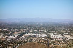 Glendale, Peoria and Phoenix, AZ. West side of Valley of the Sun looking at Glendale, Peoria and Phoenix from North Mountain Park, Arizona Stock Image