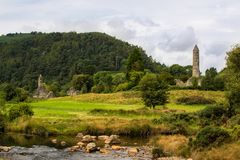 Glendalough的,威克洛,爱尔兰修道院 图库摄影