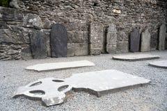 Glendalough-Kathedrale und runder Turm, Irland Stockfotos